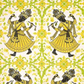 Dancers - Lemon - Yellow and black ethnic women with yellow and green patterns and flowers on a white fabric background made from 100% linen