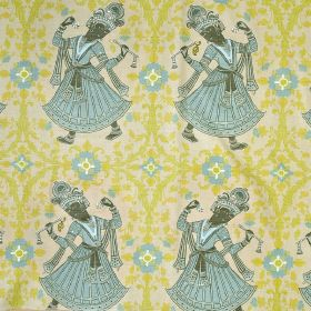 Dancers - Aqua - Lime green & light blue patterns with dark grey & light blue ethnic women repeatedly patterning cream 100% linen fabric