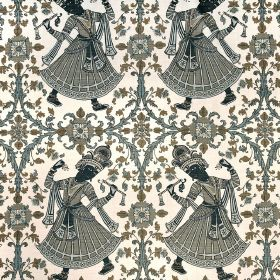 Dancers - Charcoal - 100% linen fabric in white patterned with ethnic women, patterns and flowers in several different shades of grey and brow