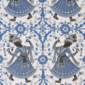 Dancers - Indigo - White, blue, light grey and charcoal coloured 100% linen fabric with a design of flowers, patterns and ethnic women