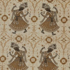 Dancers - Tobacco - Various shades of cream, brown and black making up a design of flowers, patterns and ethnic women on 100% linen fabric