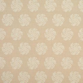 Hanbury - Chalk - Subtle patterns of round, stylised floral type designs on 100% linen fabric in light shades ofgrey and pinkish beige