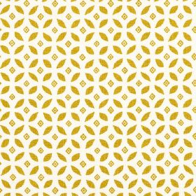 Lulsley - Mustard - An elegant, simple design of diamonds and leaf shapes printed in a repeated, gold pattern on white 100% linen fabric