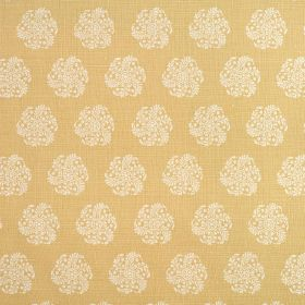 Hanbury - Hay - Nude coloured 100% linen fabric featuringindividual round, stylised floral type designs in white