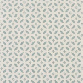 Lulsley - Duck Egg - Small, simple diamond and leaf shape patterned fabric made entirely from linen in white and a light shade of blue