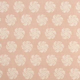 Hanbury - Mallow - Light, dusky pink and white coloured fabric made from 100% linen, featuring individual round, stylised floral type designs