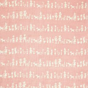 Peopleton - Rose - Fun silhouettes of people, flowers and animals arranged in rows on 100% pure linen fabric made in white and baby pink