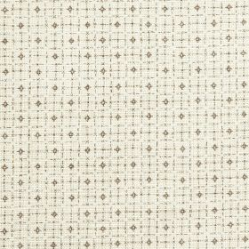 Pixley - Flint - Off-white 100% linen fabric featuring tiny diamonds and a roughly printed grid pattern in dark grey