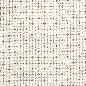 Pixley - Juniper - Dark purple diamonds and a simple grid printed roughly on a white 100% linen fabric background