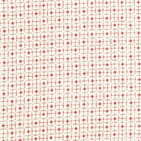 Pixley - Raspberry - Fabric made from scarlet and white coloured 100% linen, featuring a design of tiny diamonds and a roughly printed grid