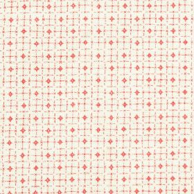 Pixley - Rhubarb - Fabric made from 100% linen, featuring a roughly printed grid pattern and small diamonds in white and hot pink