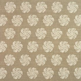 Hanbury - Olive - Fabric made from 100% linen, featuring individual, round, stylised floral type designs in pale and dark shades of grey