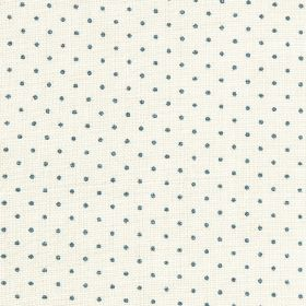 The Littletons - Indigo - Small navy blue polka dots arranged in rows over chalk white coloured 100% linen fabric