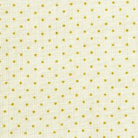 The Littletons - Mustard - A small polka dot pattern arranged in rows over fabric made from 100% linen in very pale grey and bright olive gr