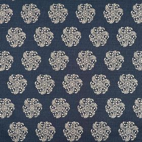 Hanbury - Midnight - Individual round stylised floral type patterns printed in white on a midnight blue coloured 100% linen fabric backgroun