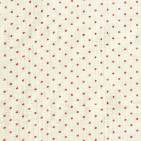 The Littletons - Rhubarb - Raspberry coloured polka dots creating a small, regular pattern on an off-white 100% linen fabric background