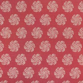 Hanbury - Raspberry - A white pattern of individual, round, stylised floral type designs on raspberry coloured fabric made from 100% linen