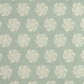 Hanbury - Duck Egg - Off-white and light blue-grey fabric featuring individual round, stylised floral patterns made with a 100% linen conten