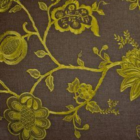 Jacobean - Lime On Brown - Chocolate brown fabric with Jacobean style floral pattern in green