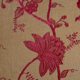 Jacobean - Red On Gold - Light brown fabric with Jacobean style flower pattern in red
