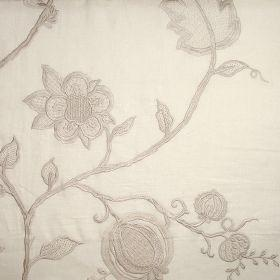 Jacobean - Ivory On Ivory - Ivory fabric with Jacobean style flower pattern