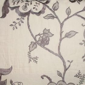 Jacobean - Taupe On Ivory - Ivory fabric with Jacobean style flower pattern in brown