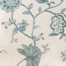 Jacobean - Duck Egg On Ivory - Ivory fabric with Jacobean style flower pattern in blue