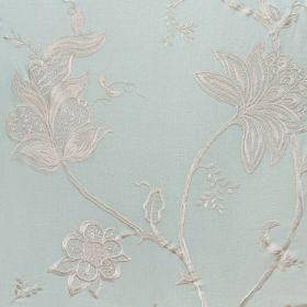Jacobean - Ivory On Duck Egg - Light blue fabric with Jacobean style flower pattern in ivory
