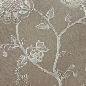 Jacobean - Ivory On Taupe - Neutral fabric with Jacobean style floral pattern in ivory