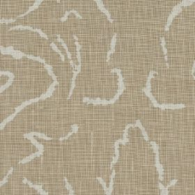Florence - 03 - Slightly streaky light grey-beige 100% linen fabric with short, white, thin lines making up an elegant, abstract pattern
