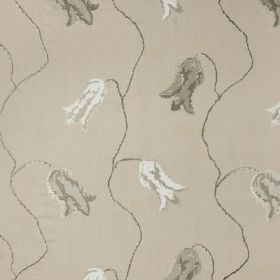 Constantinople - Natural - White and several different shades of grey making up a patchily printed design of simple tulips on 100% linen fab