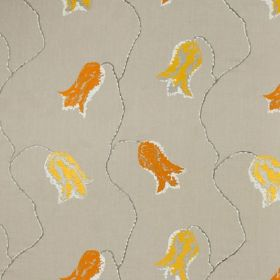 Constantinople - Grey, Orange and Yellow - Dark shades of yellow and orange making up a patchily printed tulip design on 100% linen fabric m