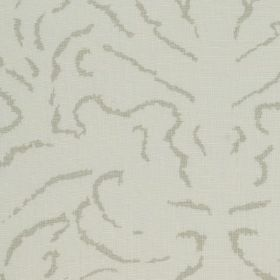 Florence - 06 - Short, thin, light grey lines making up an elegant, abstract pattern on 100% linen fabric in an even paler shade of grey