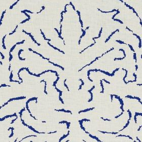 Florence - 05 - 100% linen fabric made in white, printed with an elegant, abstract pattern made up of short, thin, Royal blue lines