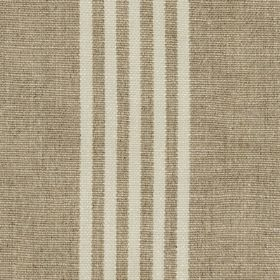 Moroccan Stripe - Stone Wash - Linen and polyester blend fabric woven using threads in light grey and dark brown, with five thin stripes in