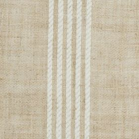 Moroccan Stripe - Voile - Fabric woven from a blend of cream and light brown linen and polyester, with five thin off-white rope effect strip