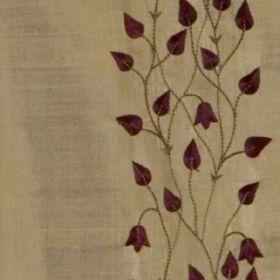 Climbing Leaf - Aubergine Gold - Neutral silk fabric with dark red vertical flower pattern