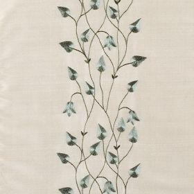 Climbing Leaf - Jade Dark Ivory - White silk fabric with blue climbing leaf floral pattern