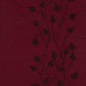 Climbing Leaf - Red Rush - Dark red silk fabric with vertical flower pattern