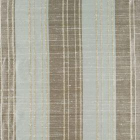 Bath Stripe - Aqua Buff - Thin and thick striped silk fabric in grey and blue