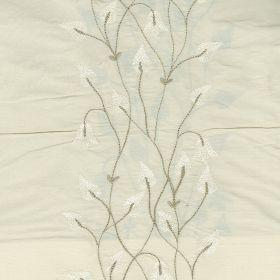 Climbing Leaf - White Ivory - Cream silk fabric with climbing leaf floral pattern