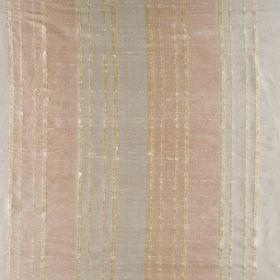 Bath Stripe - Spring Haze - Thin and thick striped silk fabric in grey and pink