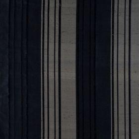 Bath Stripe - Granite - Thin and thick striped silk fabric in grey and black