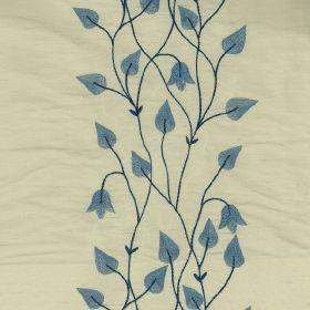 Climbing Leaf - Blue Ivory - Cream silk fabric with blue climbing leaf floral pattern