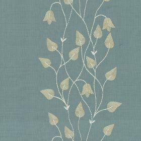 Climbing Leaf - Ivory Celadon - Blue silk fabric with white climbing leaf floral pattern