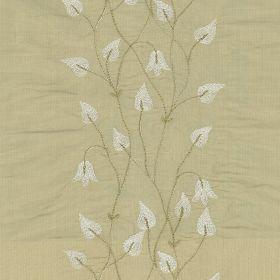 Climbing Leaf - Beige - Beige silk fabric with white climbing leaf floral pattern