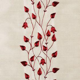 Climbing Leaf - Ruby Dark Ivory - White silk fabric with red climbing leaf floral pattern