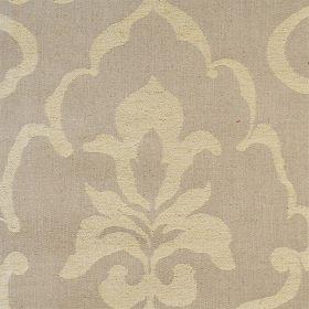 Como - Taupe - Brown linen fabric with faint classical outline in beige