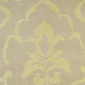Como - Lime - Dull green linen fabric with faint classical outline in lime green