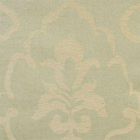 Como - Sage - Green linen fabric with faint classical outline in beige